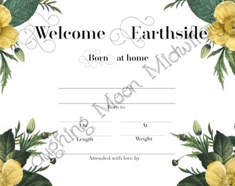 Birth certificate etsy commemorative birth certificate welcome earthside born at home floral newborn footprint keepsake yadclub Image collections