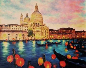 Original painting. Venice with lanterns. Artwork by Paolo Bigazzi. Wall Decor. 60cm x 70cm