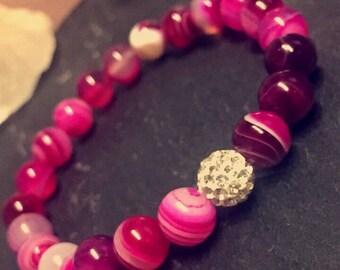 Pink Agate Pave Bead Bracelet
