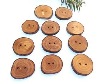 1 1/4'' Branch Buttons, Set of 10, Olive tree buttons, Handmade Wood buttons, Eco/ Natural buttons, Knitting Sewing supplies, 3 cm