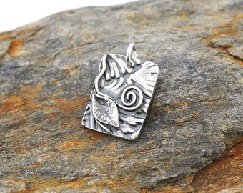 Fine silver spiral and leaf pendant, PMC jewelry, Irina Miech