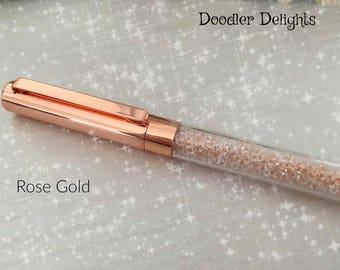 Rose Gold crystal pen   Wedding guest book pen