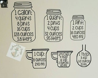 Measuring cup decals, decals, measure, mason jars, kitchen decor, home decor