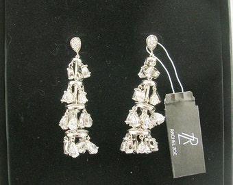 "Rachel Zoe  Faceted Tiered Earrings PIERCED  2""   with Packaging"