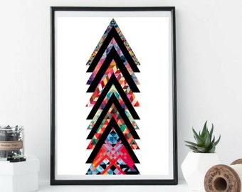 Studio Triangle Print, Geometric, Art Poster, Art Print, Wall Art, Abstract Art, Home Decor, Digital Collage, Design, Shapes, Colourful,