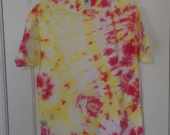 M Yellow and Red Tie Dye Short Sleeved T-shirt