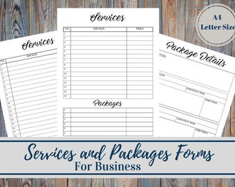 Services And Packages Business Planner Forms, Services List, Services Descriptions and Details, Consulting business list
