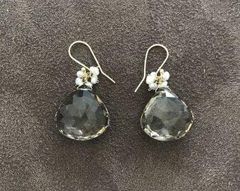 Loraine Schwartz Smoky Topaz Earrings with Seed Pearls