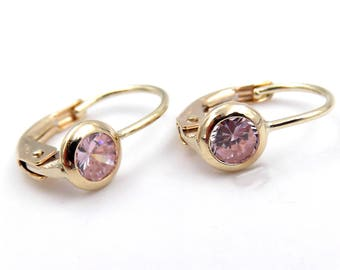 14 kt yellow gold Stud Earrings with zircon Pink for girls-Ladies 14kt yellow gold earrings with pink zircon for girl