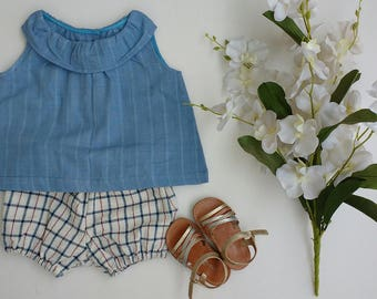Baby tops, Baby clothing, ruffle top bloomer set, handloom cotton top,shorts, eco-friendly, fairtrade, organic