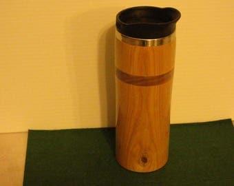 Handmade cherry and walnut wood travel mug