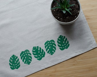 Monstera Leaf Block Printed Tea Towel - Oatmeal