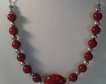 Red stone oval necklace