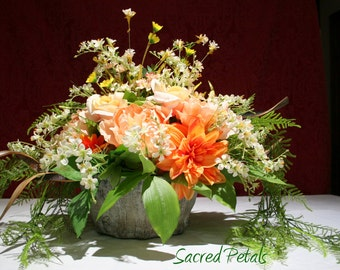Rose, Dahlia, Mixed Silk Flower Arrangement