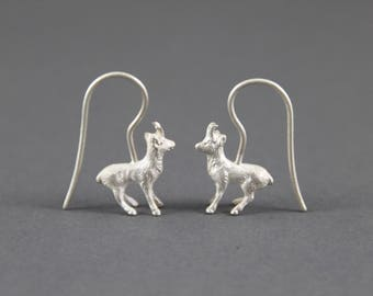 Earrings Ibex forest animals silver