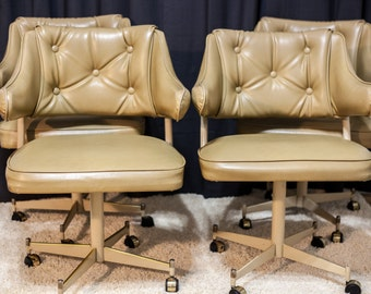 Mid-Century  Tufted swivel dining chairs  ( set of 4)