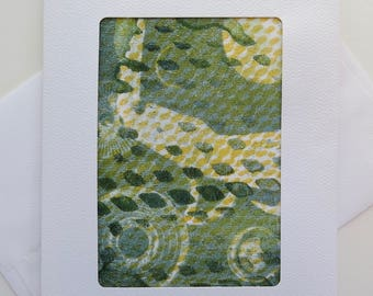 Greeting Card: #A13, made with an original monotype by Andi Warner