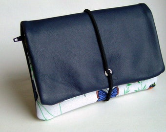 Tobacco pouches leather blue & butterflies