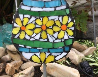 Mosaic Flower Easter Egg / Little Chick Garden Art