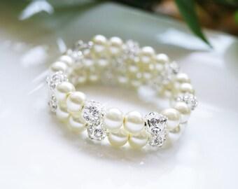 Pearl & Pave Crystal/Rhinestone Bridal, Bridesmaid, or Flower Girl Wedding/Prom Wrap Bracelet