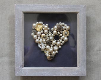 Black and Gold Pearl/Button Framed Heart - One off Piece
