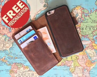iPhone 6 Case Leather Phone Wallet Monogram iPhone 7 Case iPhone 6 wallet case Detachable 3rd Anniversary Gift for Men iPhone 6 leather case