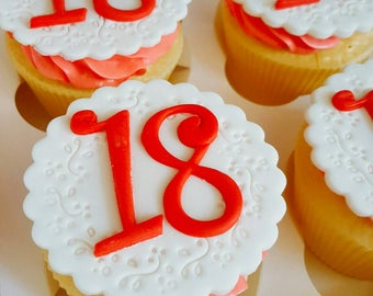 Happy 18th Birthday Cupcake Toppers - Made from Edible Fondant/Sugarpaste - Pretty Cupcake and Cake Decorations