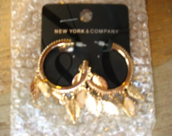 Gold Feather/Leaf Hoop Earrings