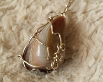 Botswana Agate Pendant (Sterling Silver)