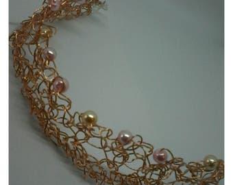 handmade  copper wire crochet bracelet with glass beads
