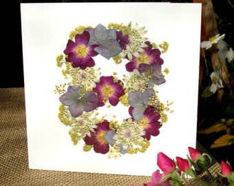 No 8, Wife 8th Anniversary, Husband 8th Anniversary, Daughter 8th Birthday, Blank Card, Cards for Gardeners, English Pressed Flower PRINT