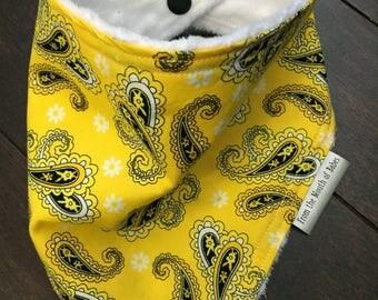 Baby Bandana Bib - Yellow Paisley with Daisies