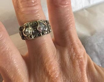 Sterling silver and crystal ring size 6