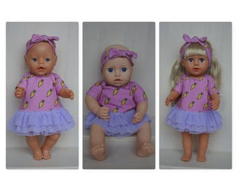 Hand made dress and headband outfit for Baby Born, Baby Born sister, new Baby Annabell or other doll till 43 cm (17 inch)