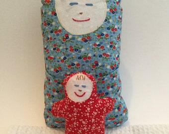 BertleberryBoutique Cultural Cuties Blue Mama and Baby Pouch Dolls