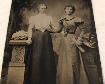 """That Looks Like a Man:  Antique Tintype Photograph of Two """"Women"""""""