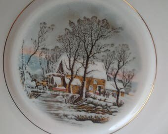GERMAN PORCELAIN PLATE The Old Mill Crown bavaria porcelain, decorative vintage plate, old german plate, sweet wallhanging, pretty plate