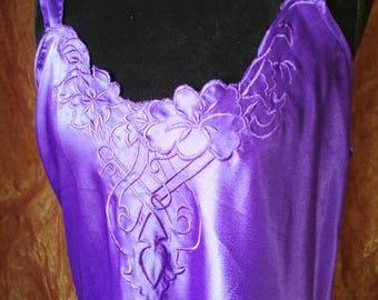 90s Purple Floral Slip L
