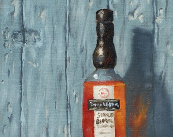"Original oil painting ""Evan Williams Single Barrel Vintage"" 10x8 oil on linen"