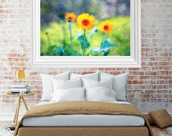Painted colorful sunflowers, nature photography, wall art, home decor, fine art photography, professional photography