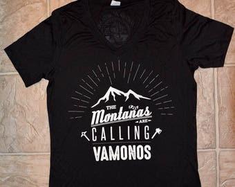 Hiking Montañas Black V-Neck