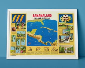 Bananaland - 1958 Map of Central America | Banana Republics, Caribbean Sea Chart, Cuba, Havana Vintage Map of New Orleans to Cristobal