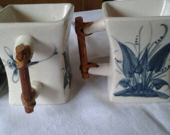 Vintage Japanese Stoneware Tea Cups With Bamboo Handles