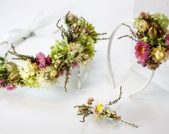 Pink & Perky Wedding Flower Crown | Floral Alice Band | 3 Floral Hair Clips | Pink, Cream, Green | Dried Flowers
