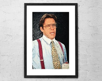Bill Lumbergh - Office Space - Illustration - Office Decor - Mike Judge - Initech - Movie Poster - Red Stapler - Geek Gift - Geeky - Hipster