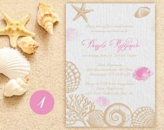 Seashell Invitation Beach Invitation Beach Wedding Wedding Invitation Destination Wedding  Seashell Invitations Bridal Shower