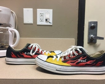 Hand painted flame converse shoes