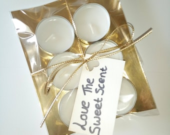 6 Tea light candles unscented white, unscented candle, white candle