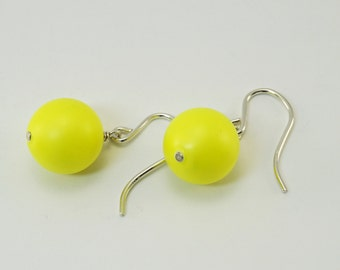 Silver dangle  earrings earrings fluro yellow earrings sterling silver hook earrings  round bead earrings everyday jewellery