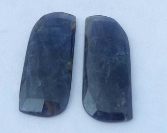 Iolite   faceted 2 piece pair , 36 mm to 15  mm ,